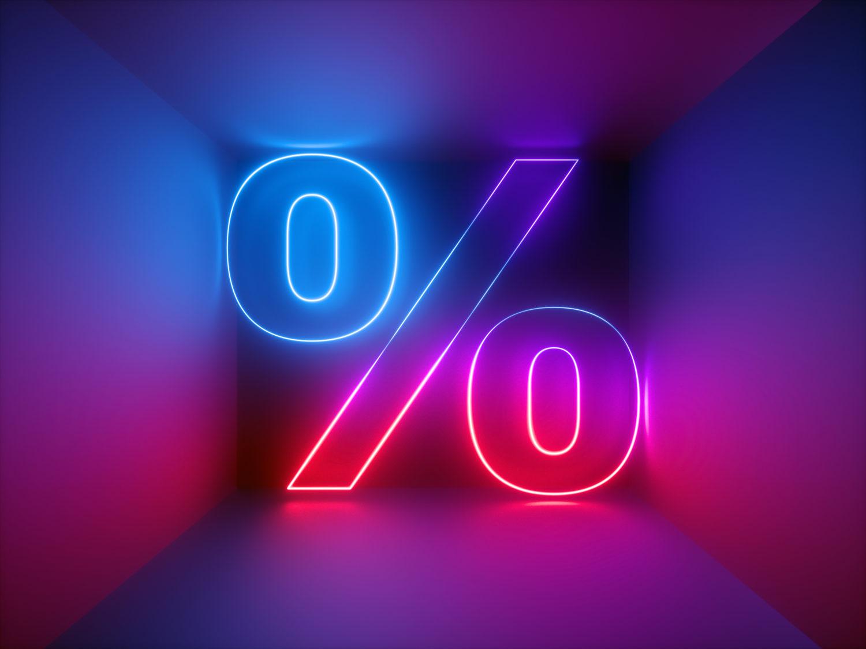 Artsy neon percentage sign