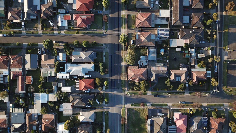 Birds Eye view of a suburban neighborhood