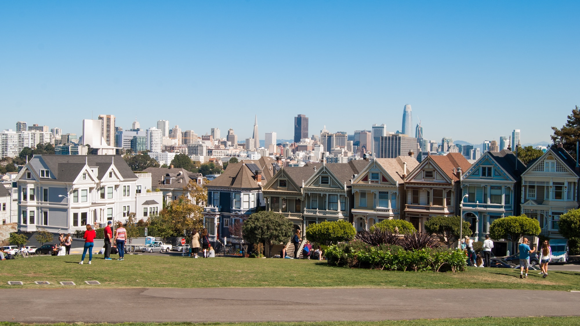 Scenic picture of the painted ladies in San Francisco as well as the Financial District in the background